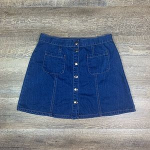 BDG Button Front Denim Mini Skirt size Medium Dark